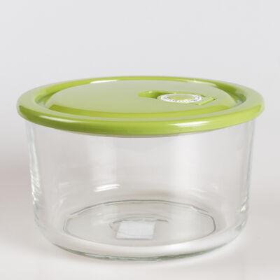 Üvegedény, zöld színű műanyag tetővel, fermentáló készülékhez